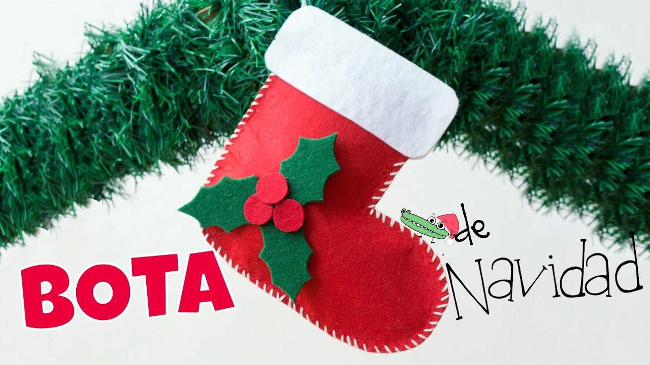 Calcet n de navidad bota navide a en fieltro youtube - Manualidades de navidad ...