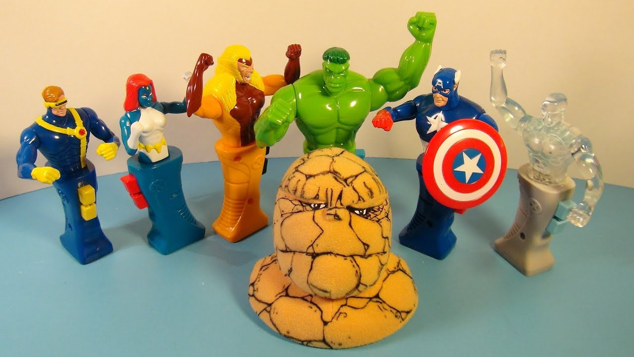 2001 MARVEL HEROES IN ACTION SET OF 7 TACO BELL KID S MEAL TOY S