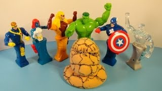 2001 MARVEL HEROES IN ACTION SET OF 7 TACO BELL KID'S MEAL TOY'S VIDEO REVIEW