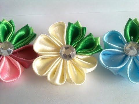 Цветок канзаши для начинающих  kanzashi flower for beginners канзаши мастер класс