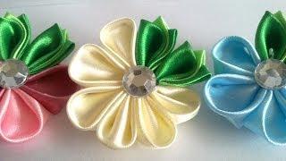Цветок канзаши для начинающих  kanzashi flower for beginners канзаши мастер класс(В этом видео канзаши мастер класс подробно рассказывается о том, как сделать простой цветок канзаши. Вам..., 2014-02-27T09:43:34.000Z)
