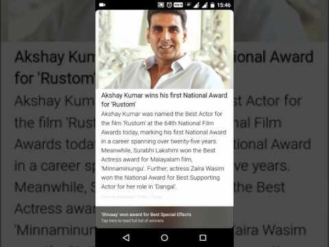 "Akshay Kumar wins his first National Award (Best Actor) for ""Rustom""."