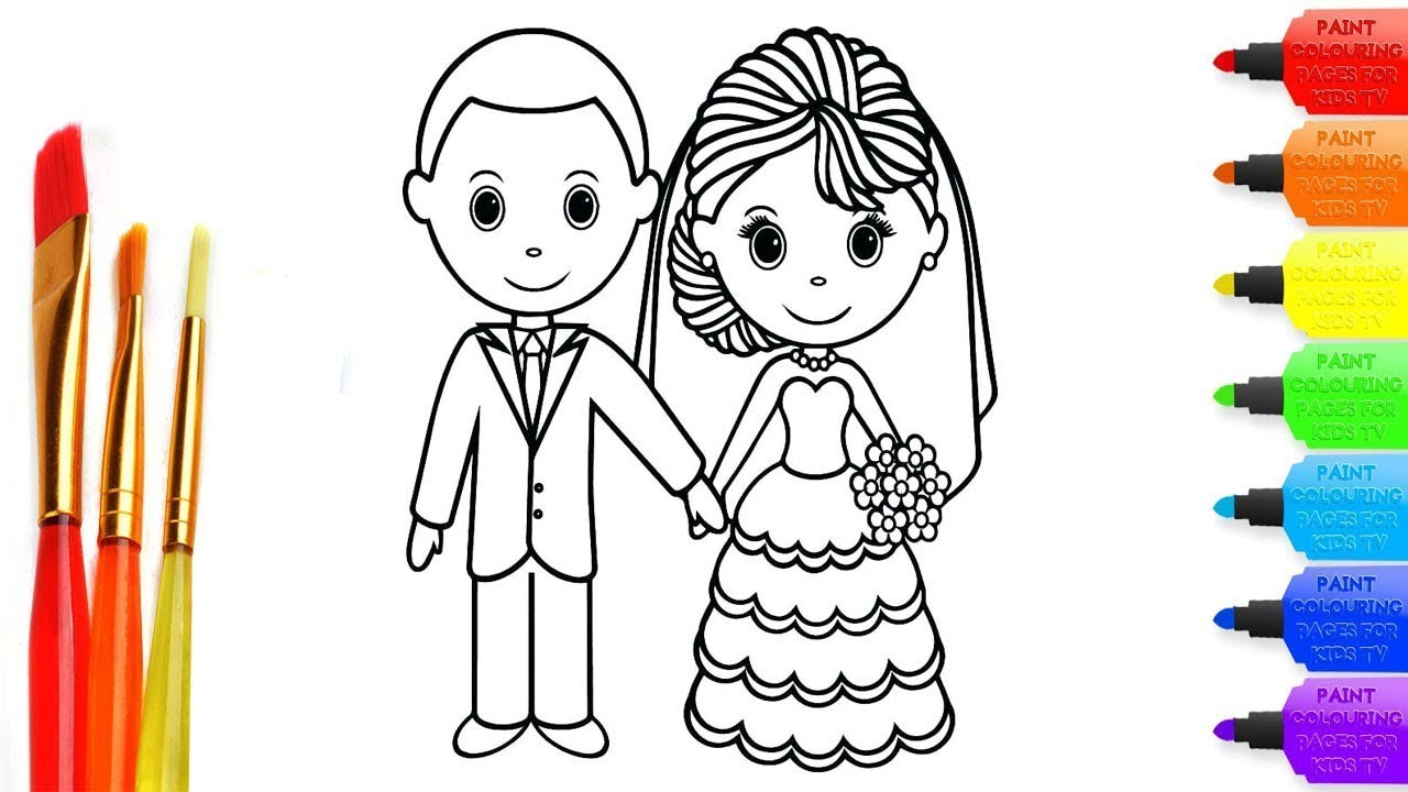 How To Draw Wedding Coloring Page For Kids I Learn Coloring Book
