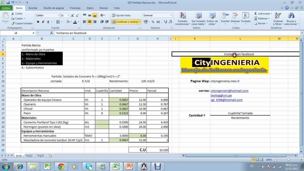 Análisis de Costo Unitario en Excel - YouTube
