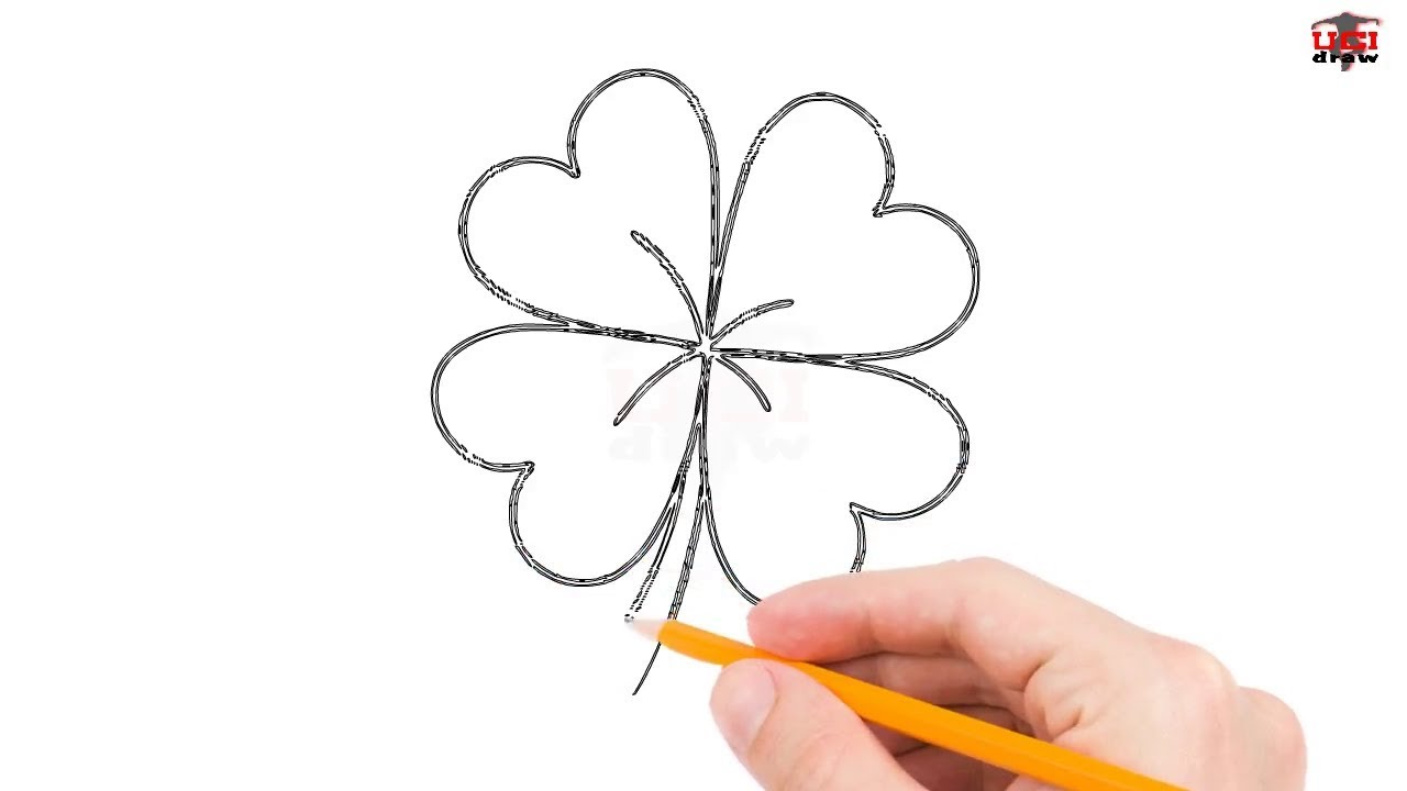 How To Draw A Four Leaf Clover Step By Step Easy For Beginners Kids