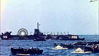 Landing Ship Medium, Hospital ship and cargo ship at sea in Okinawa, Japan; kamik...HD Stock Footage