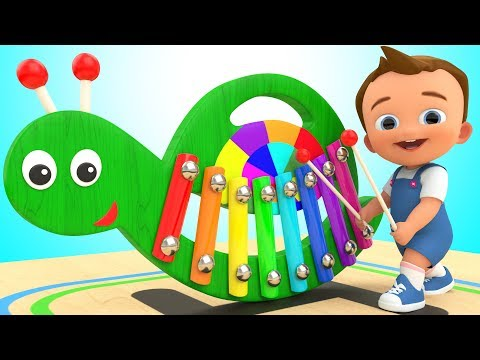 Learn Colors for Children with Baby Wooden Snail Xylophone Toy Set 3D Kids Toddlers Educational