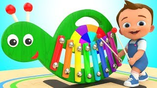 Snail Xylophone Wooden Toy Set 3D | Learn Colors for Children with Baby Kids Toddlers Educational