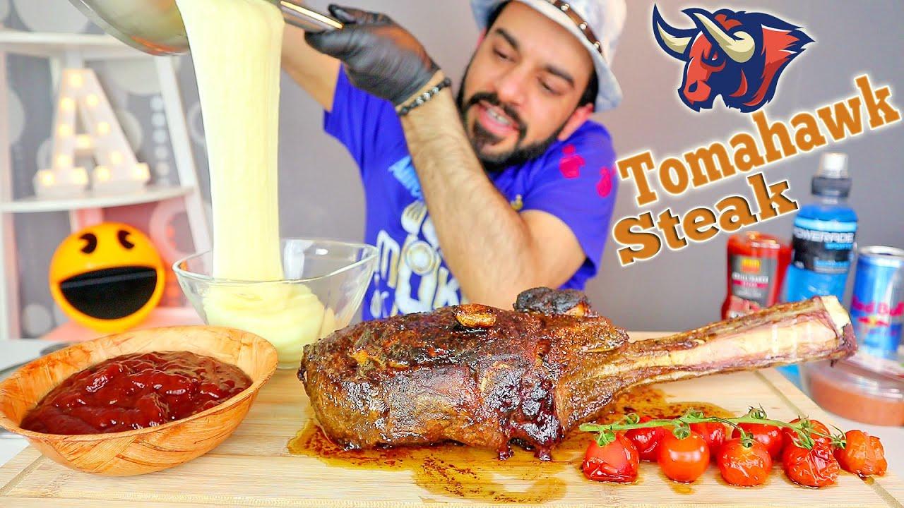موكبانغ ستيك توماهوك الشهير ضلع بقرة مشوي وجبنة البطاطا المطاطية Giant Tomahawk Ribeye Steak Mukbang