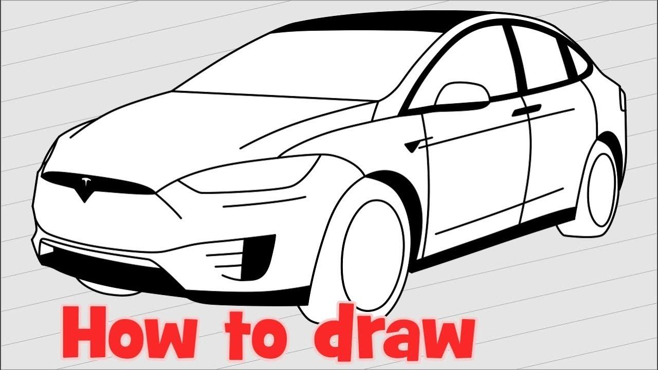 How To Draw A Car Tesla Model X