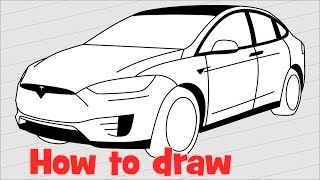 How to draw a car Tesla Model X