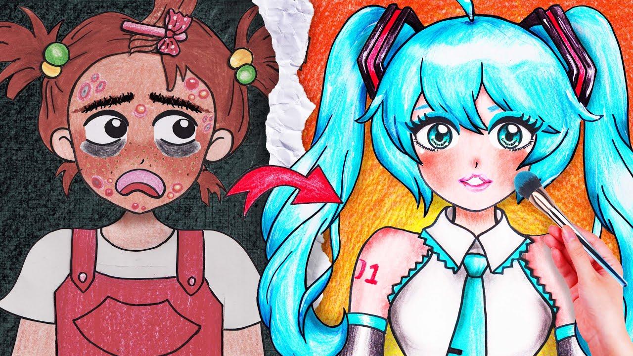HATSUNE MIKU : Makeup Anime Girl - Stop Motion Paper
