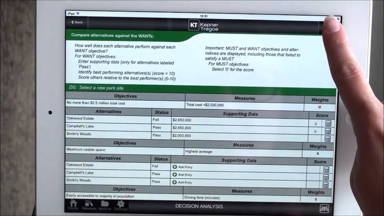 Kepner-Tregoe Tablet App Help Video: Decision Analysis - Evaluate ...