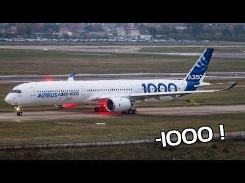 New Airbus A350-1000 flight testing at Toulouse Blagnac Airport
