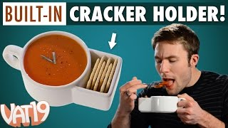vuclip Soup mug with built-in cracker caddy