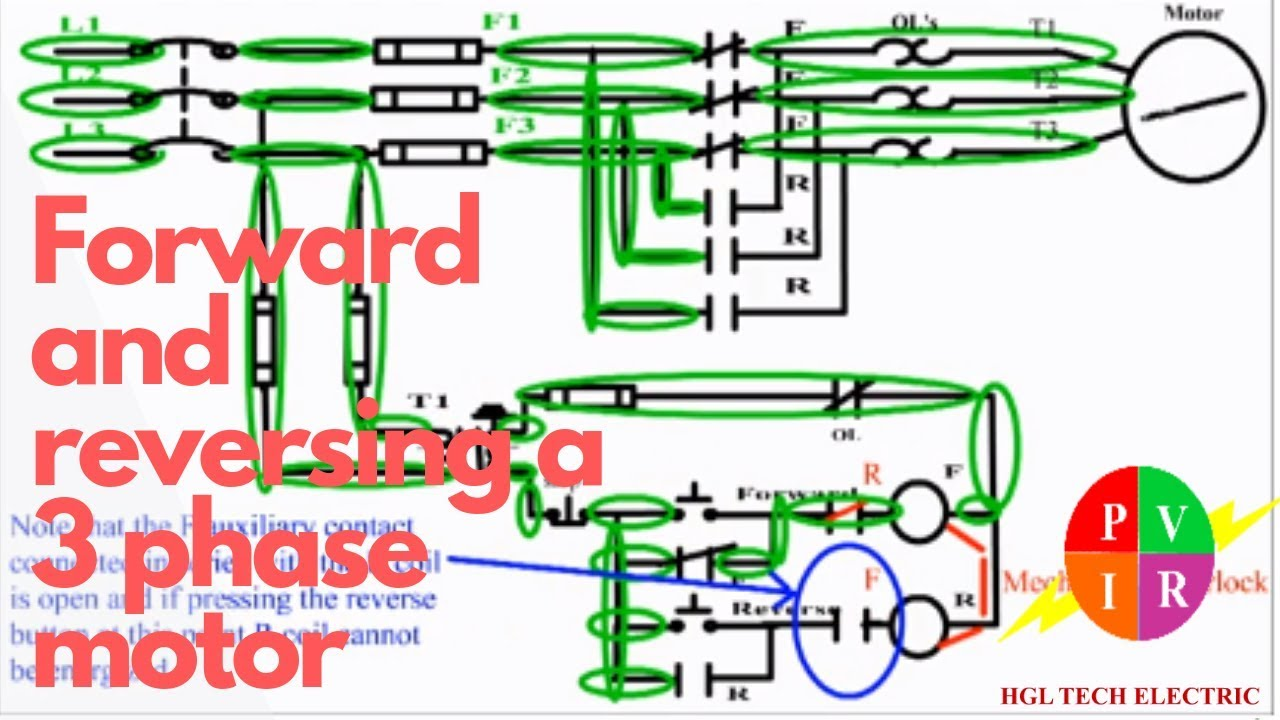 forward reverse motor control  forward reverse circuit diagram  reversing a  three phase motor  hgl tech electric