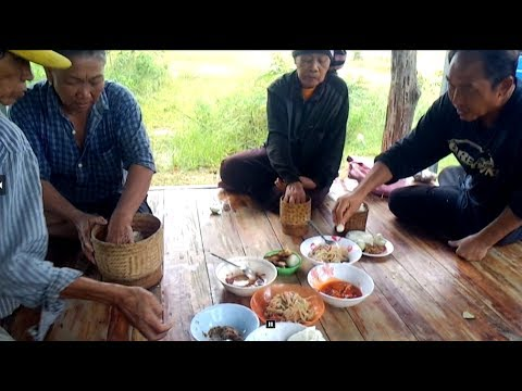 Asian food in Savannakhet , cook laos food in rice field
