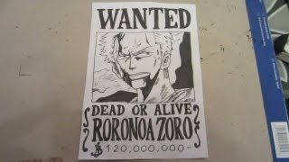 How to draw wanted poster of Zoro ロロノア・ ゾロ