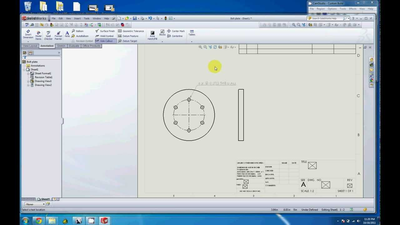 Dimensioning A Bolt Hole Pattern In A Drawing