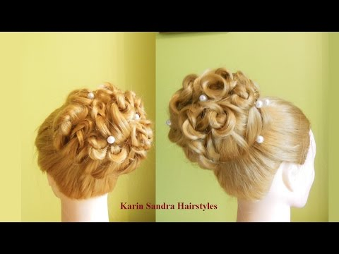 Top bun hairstyle | Easy Updo | Curled wedding hairstyle | Bridal Prom Hairstyle tutorial