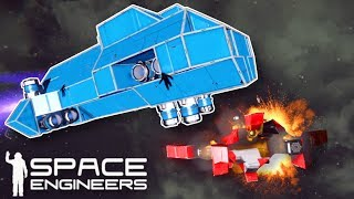 NOOBS BATTLE IN SPACE! - Space Engineers Multiplayer Gameplay - Space Battle Challenge