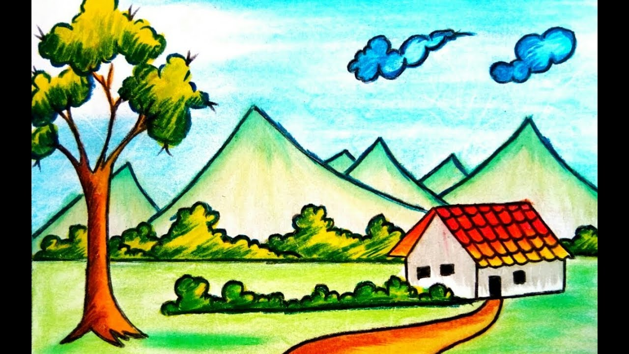 How To Draw Village Scenery Drawing For Kids 2017 Youtube