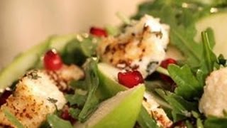 Warm Cream Cheese Croutons in a Mixed Green Salad