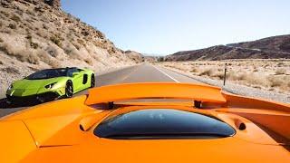 RACING LAMBORGHINI AVENTADOR vs MCLAREN 650S! *Mountain Pass Run*