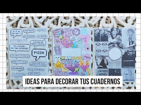 ♡ DECORA TUS CUADERNOS (3 ideas) ♡ -FÁCIL Y BONITO (Estilo TUMBLR)