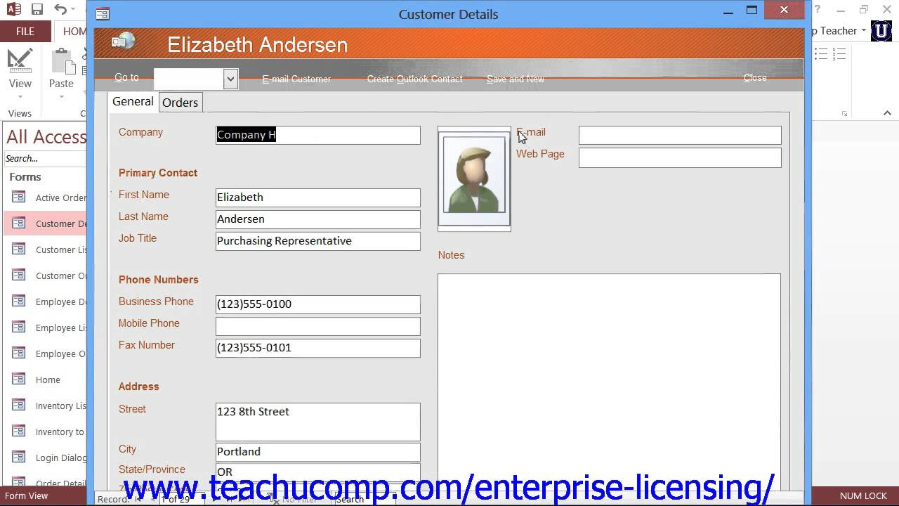 access contact database template