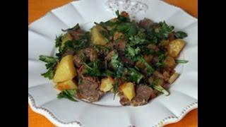 Баранина тушеная с картошкой на сковороде #баранина