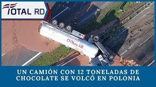 Un camión con 12 toneladas de chocolate se volcó en Polonia