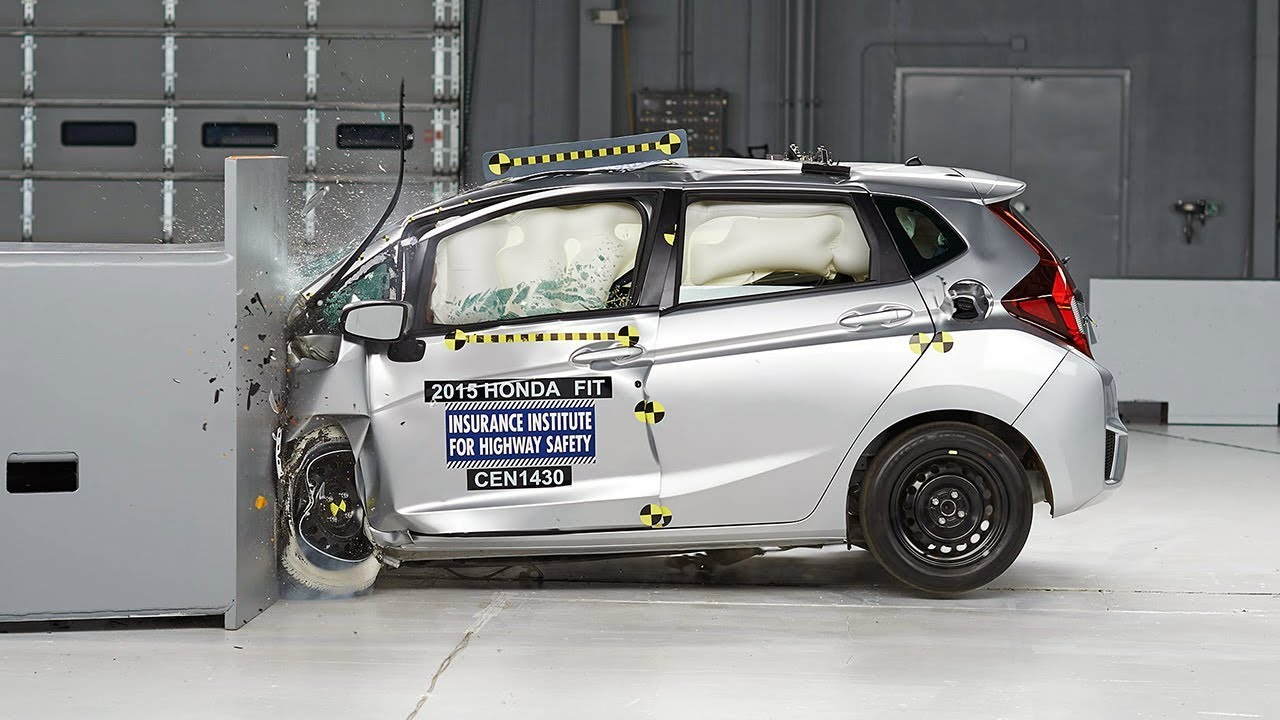 2015 Honda Fit Driver Side Small Overlap IIHS Crash Test   YouTube