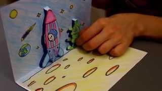 Как сделать 3D открытку из бумаги своими руками. Поделки с детьми на 12 апреля День Космонавтики(Рассказать про космос детям в игре очень просто. Сделайте со своим ребенком поделку 3D открытку из бумаги..., 2014-03-22T19:38:59.000Z)