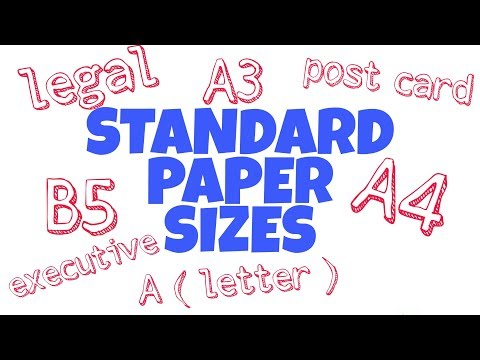 standard paper sizes , Legal , Post card , B5 , A4 , A3 , Executive , A ( Letter )