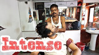 Intense old school head massage with neck cracking   Indian Massage