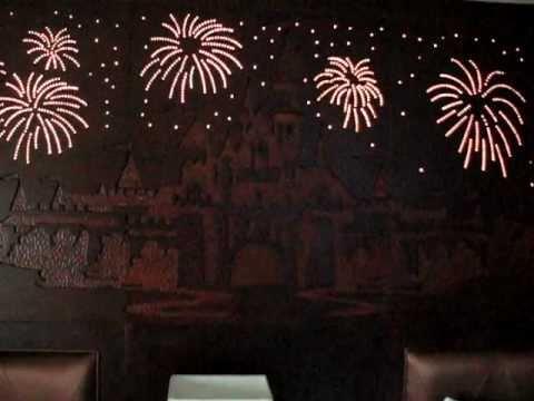 Disneyland Hotel Room Castle Firework Lights Over The Beds