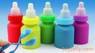 DIY Making Kinetic Sand Baby Milk Bottle Learn Colors with Kinder Joy 5 Big Surprise Egg for Kids