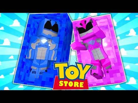 THE PINK POWER RANGER DOLL COMES TO LIFE!! (Minecraft ToyStore) w/Little Carly and Little Kelly.