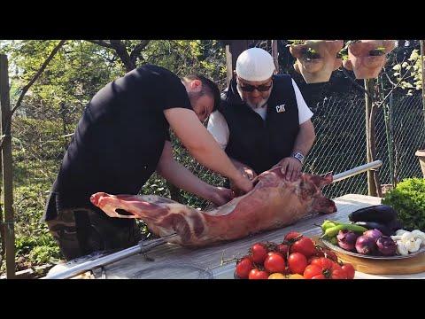 Mükemmel !!! Kuzu Çevirme Eng Amazing Roast Whole Lamb Fr Magnifique Méchoui d'agneau à la Broche