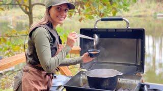 Как приготовить уху Катя Рыбалка готовит Уха на рыбалке