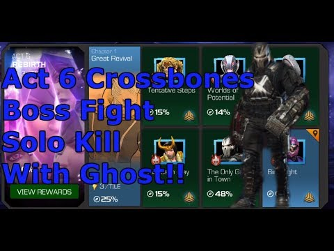 Act 6 Crossbones boss fight one shot with 5 star Ghost! | Marvel Contest Of Champions