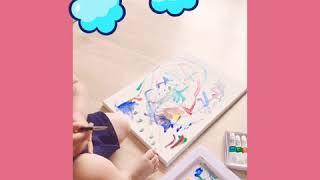 뜐화백 |물감놀이|유아미술놀이|그림그리기
