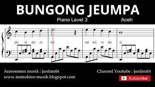 Gambar cover not balok bungong jeumpa - tutorial piano grade 3 - instrumentalia piano - bungon jeumpa