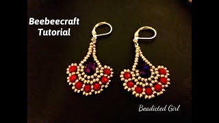 Fan Beaded Earrings || Beebeecraft Tutorial