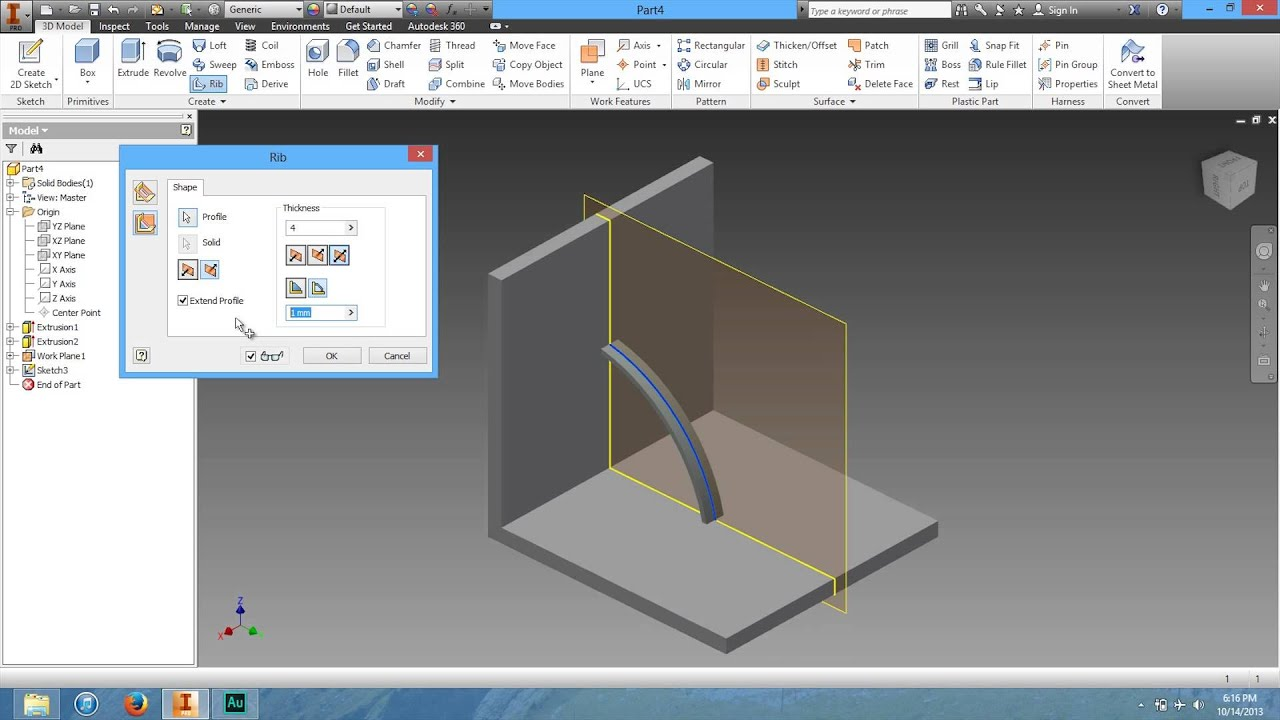 11 How To Use The Rib Tool In Autodesk Inventor Youtube