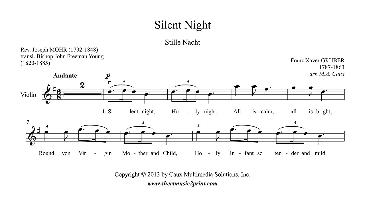 Silent Night - Violin Sheet Music - YouTube