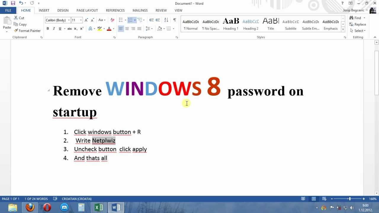How To Remove Windows 8 Startup Password