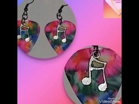 RAINBOW TIE DYE GUITAR PICK EARRINGS (MUSIC NOTE, PEACE SIGN, SMILEY FACE & LOVE)