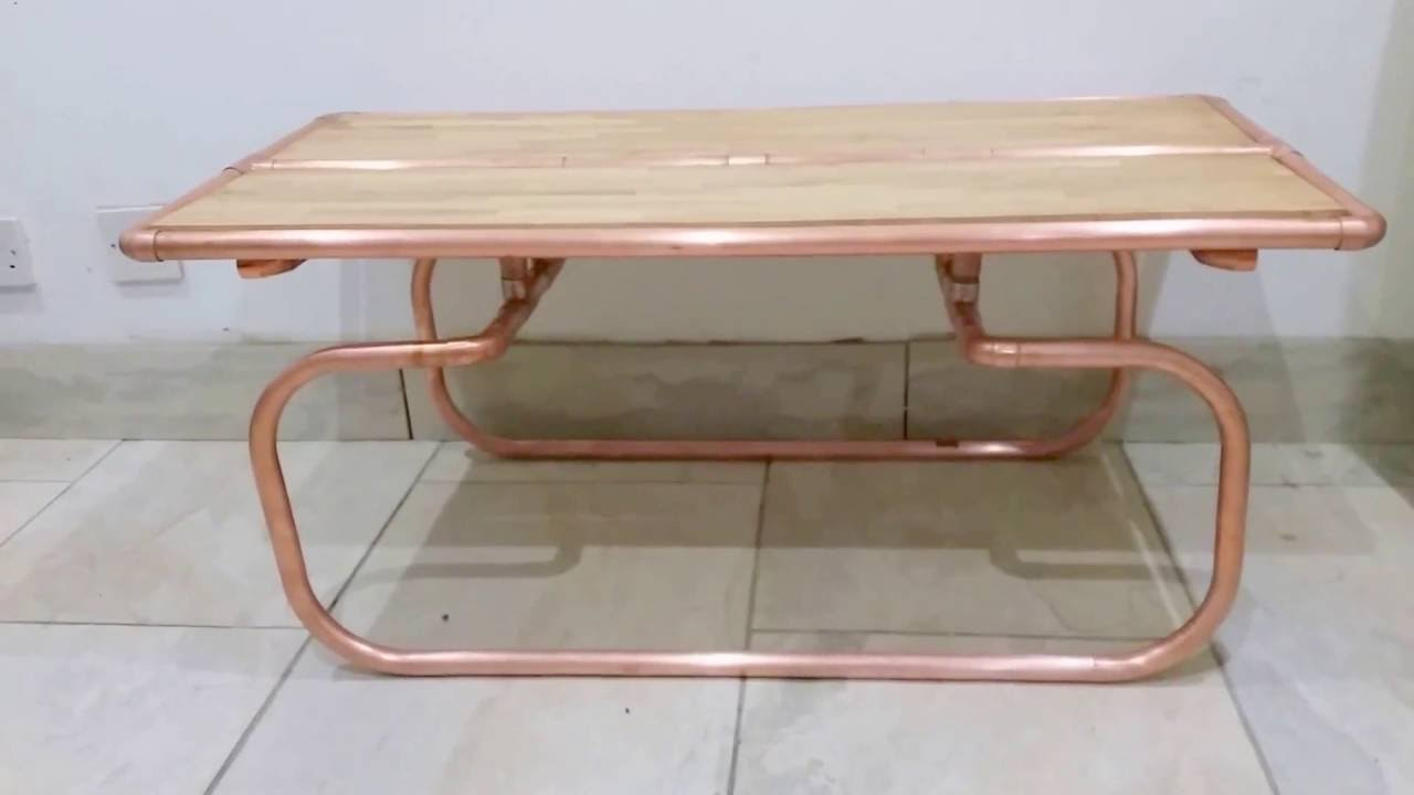 Rose gold copper pipe oak wood luxury coffee table designer home rose gold copper pipe oak wood luxury coffee table designer home interior decor art deco geotapseo Image collections